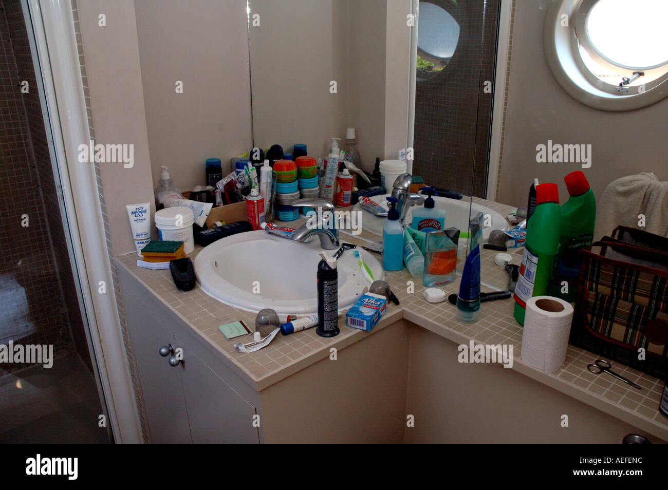 Messy Bathroom Belonging To Teenage Boy