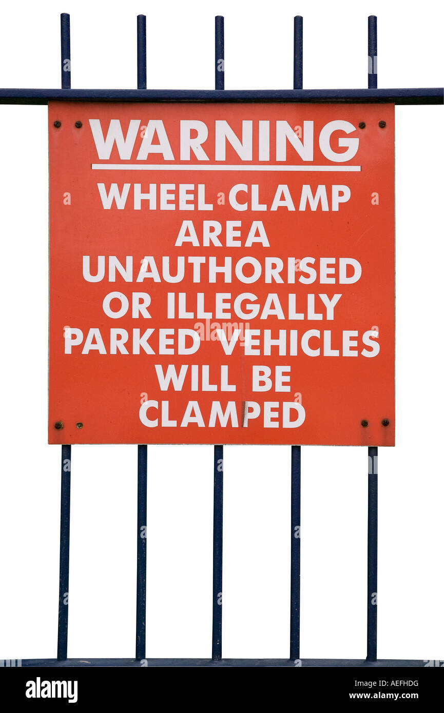 Wheel clamping sign isolated on white With clipping path - Stock Image