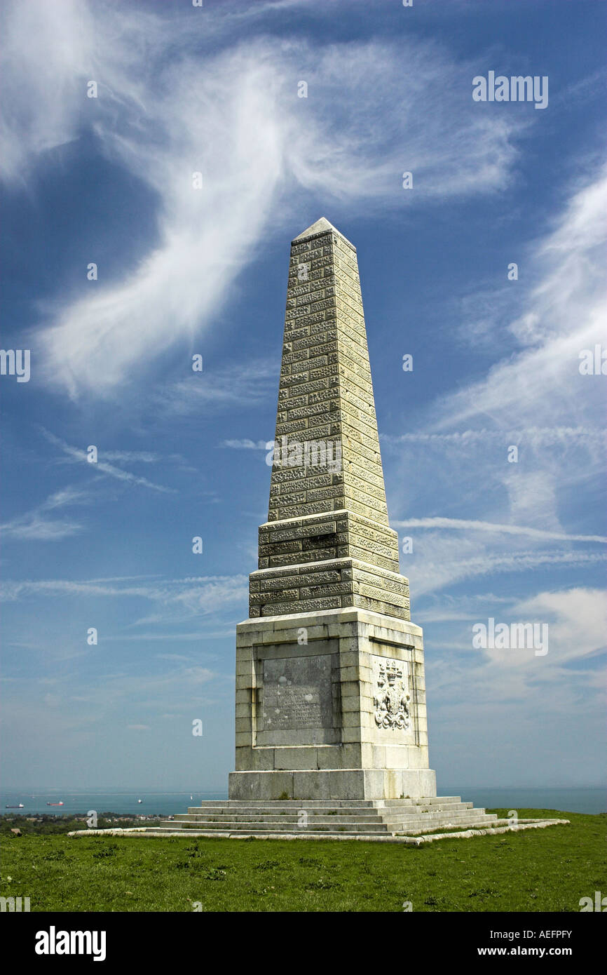 Lord Yarborough Monument, Bembridge Down / Culver Cliff, Isle of Wight, England, UK. - Stock Image