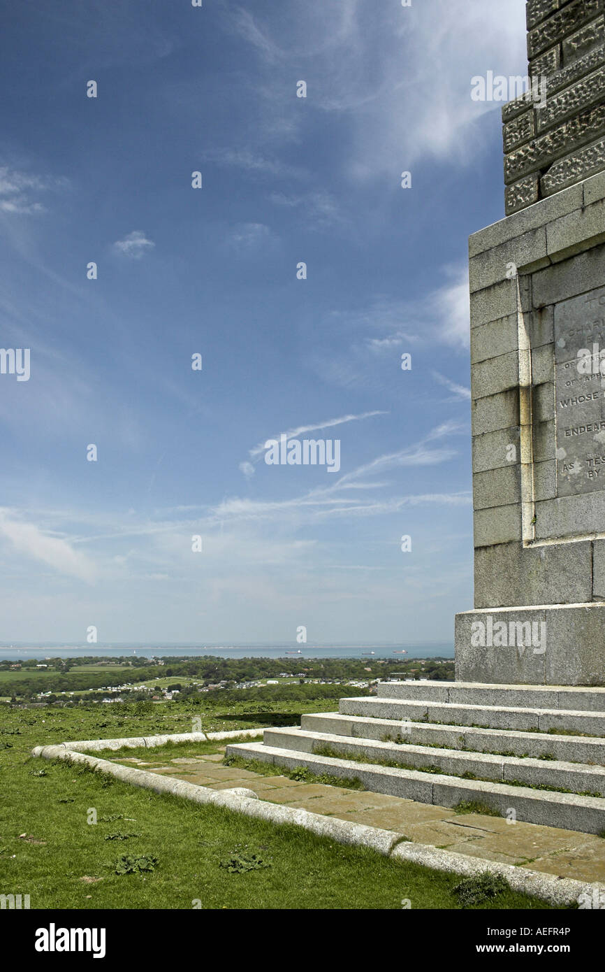 One of the views from the Lord Yarborough Monument, Bembridge Down / Culver Cliff, Isle of Wight, England, UK. - Stock Image