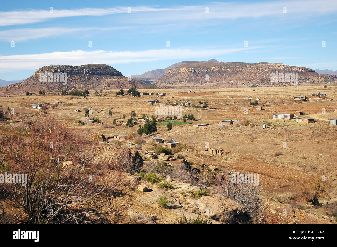 Winter landscape sparse vegetation around the Orange River Lesotho Most of the area was treeless deforested - Stock Image