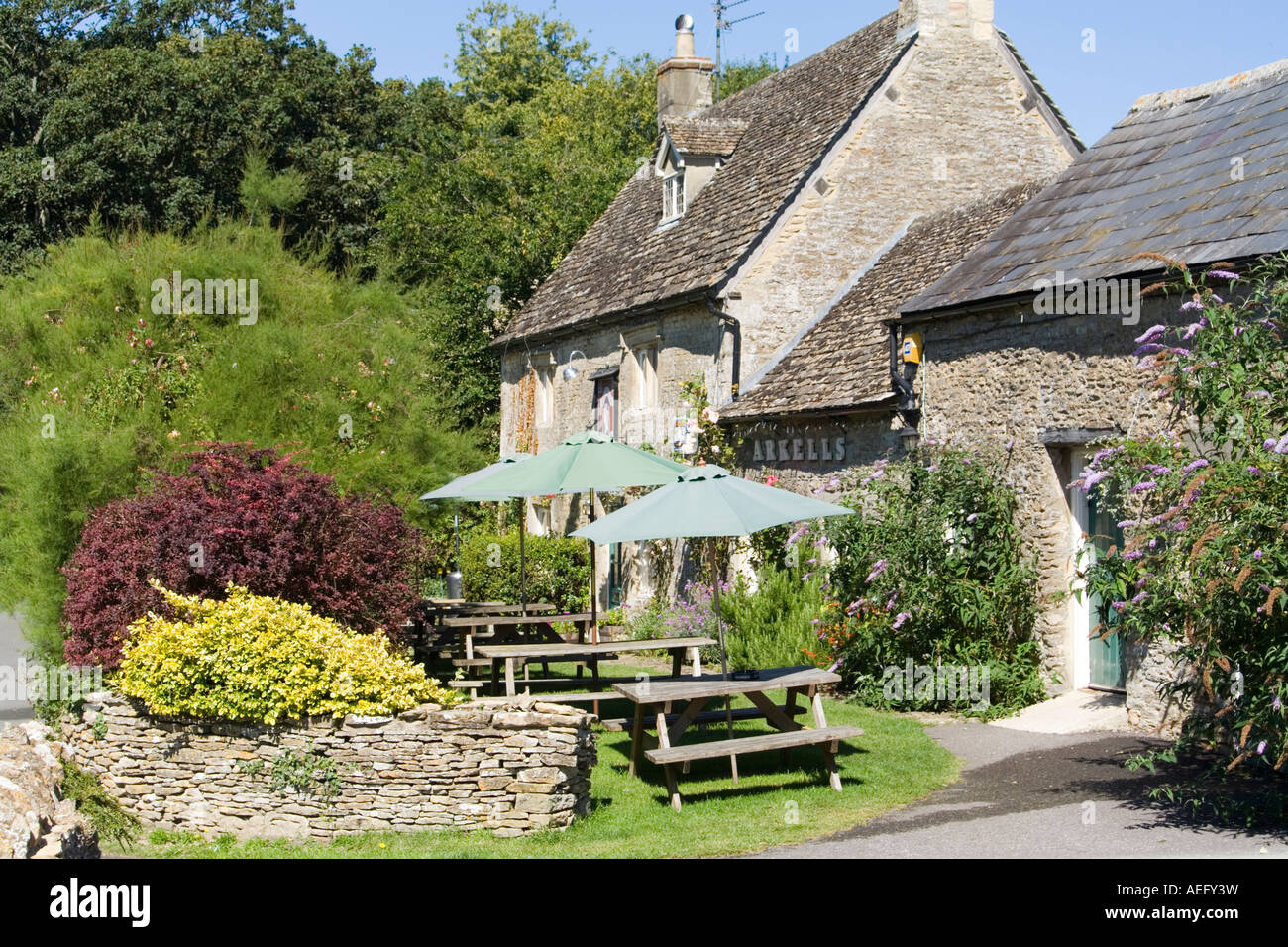 The Victoria Inn in the Cotswold village of Eastleach Turville, Gloucestershire - Stock Image