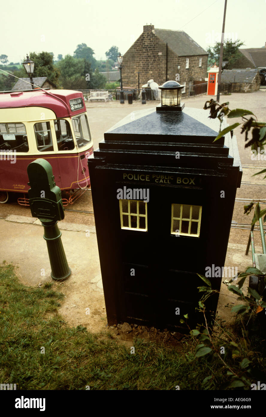 Derbyshire Crich Transport Tramways Museum police call box and K1 phone box - Stock Image