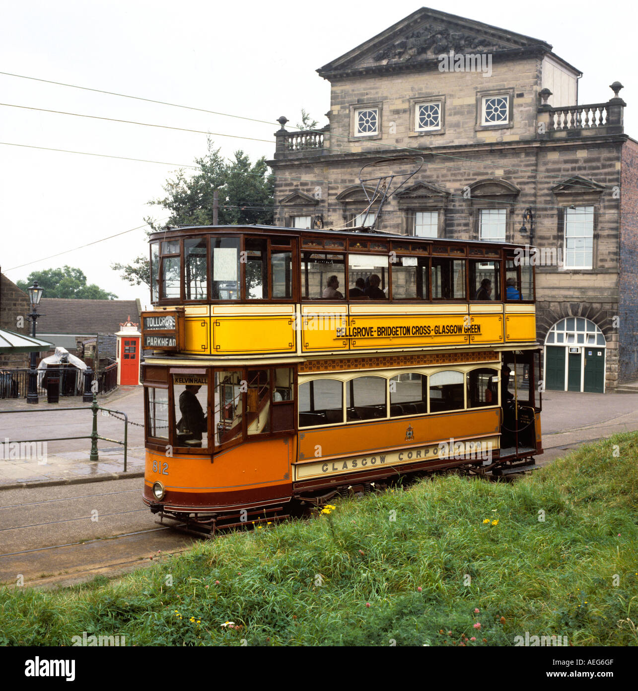 Derbyshire Crich Transport Tramways Museum Glasgow tram and K1 phone box - Stock Image