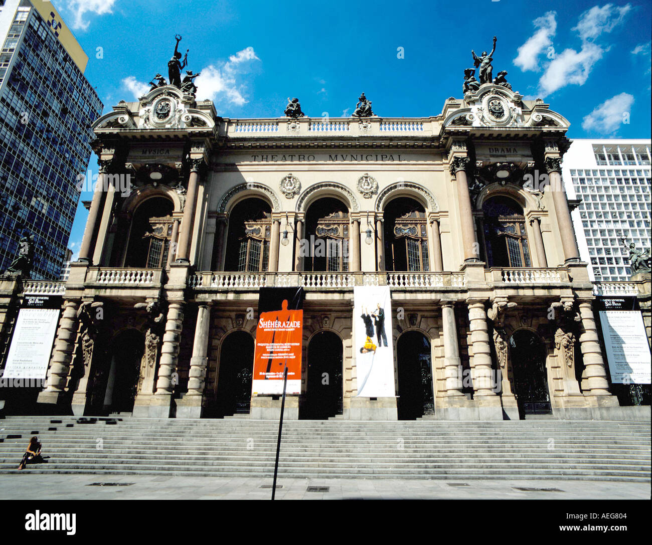 Travel Brasil sao paulo urban building buildings facades facade old downtown historical cultural heritage architecture education - Stock Image