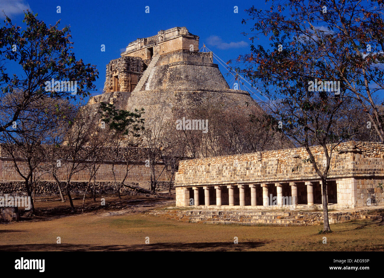 Pyramid of  The Magician , Uxmal. Puuc-style Mayan ruins. Yucatán, Mexico. - Stock Image