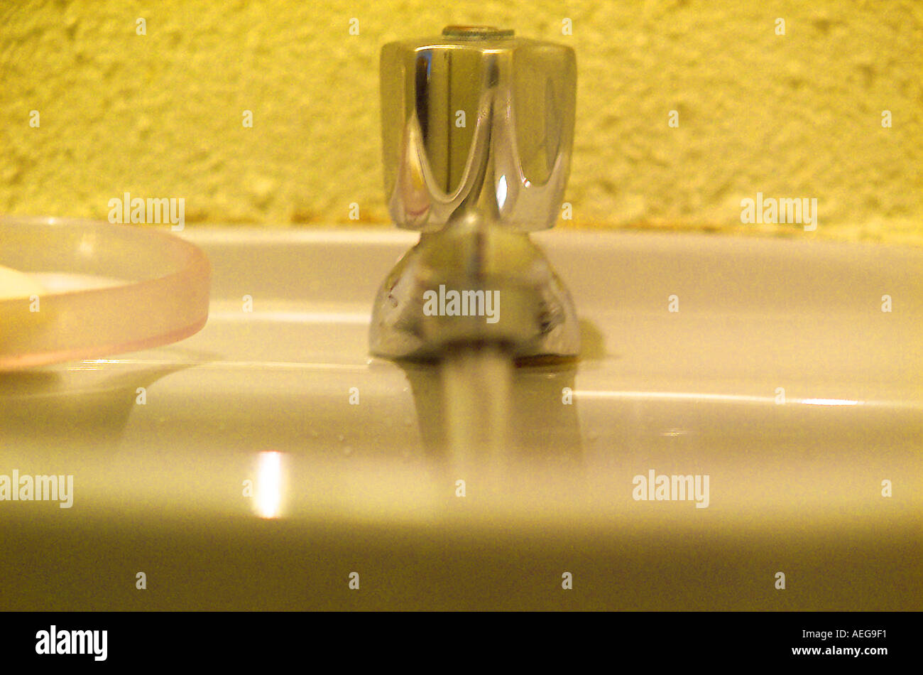 Sweet Home tap faucet running water wall yellow chrome metal ...