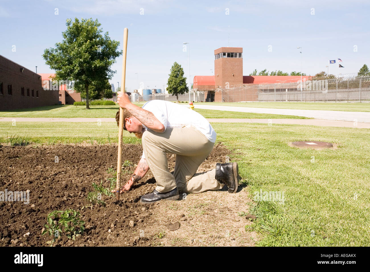 Inmate Working In Garden Inside The Omaha Correctional Center Omaha  Nebraska USA