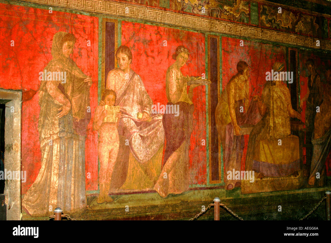 Wall Painting at Villa dei misteri Pompeii Excavations Italy - Stock Image