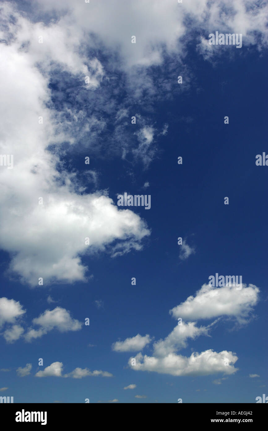Bright blue summer sky with light white fluffy clouds sky the limit break free reach up aim high height - Stock Image