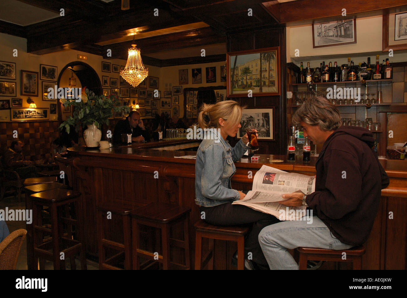 Tourists Siting In The Bar Of Hotel Madrid In The City Of Las Palmas