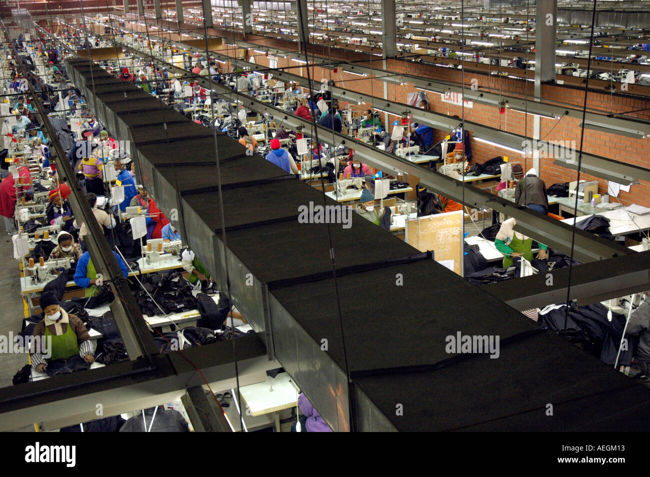 Chinese clothing factory for making blue jeans in Lesotho Africa - Stock Image