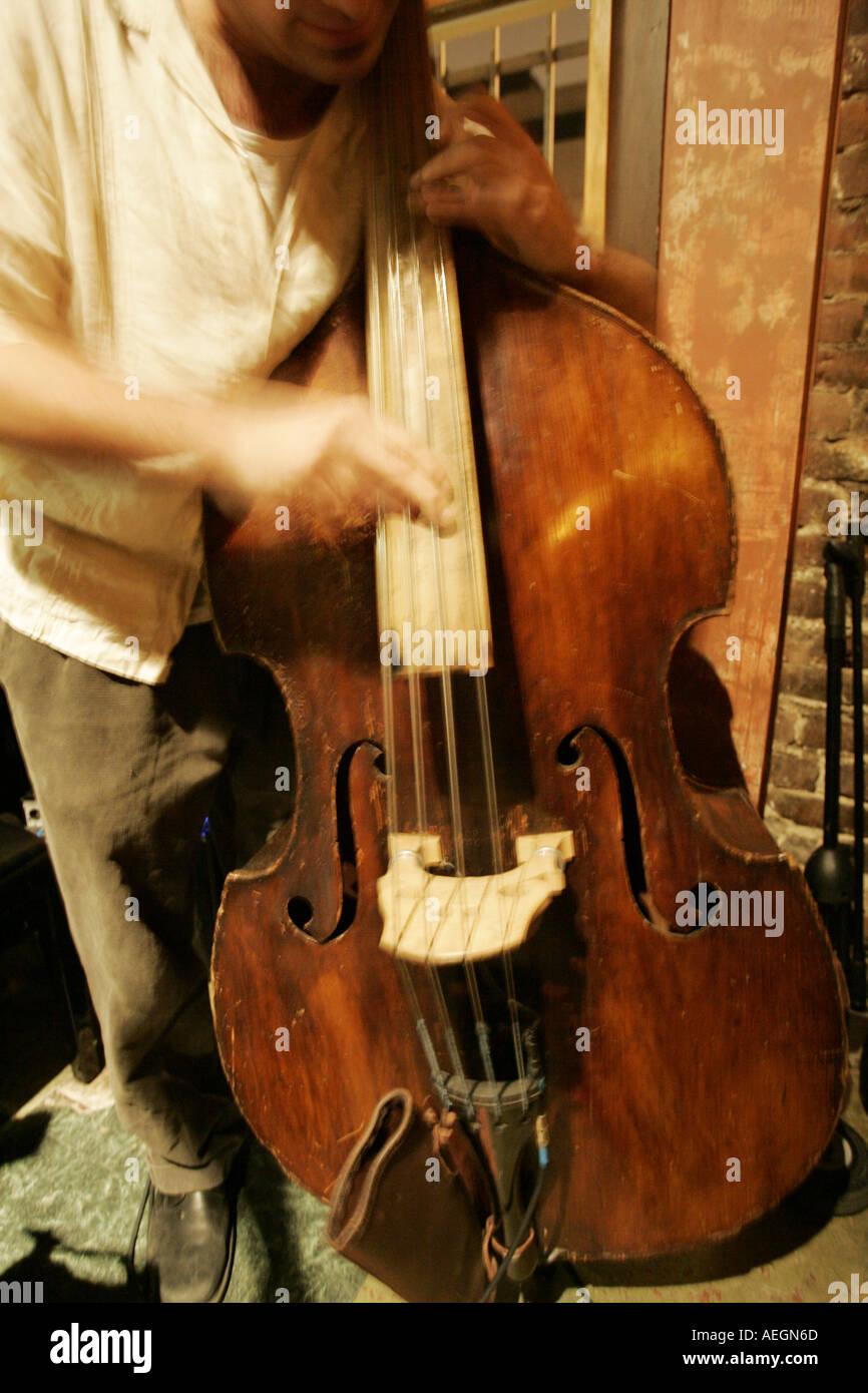 Musician playing upright bass  Stock Photo