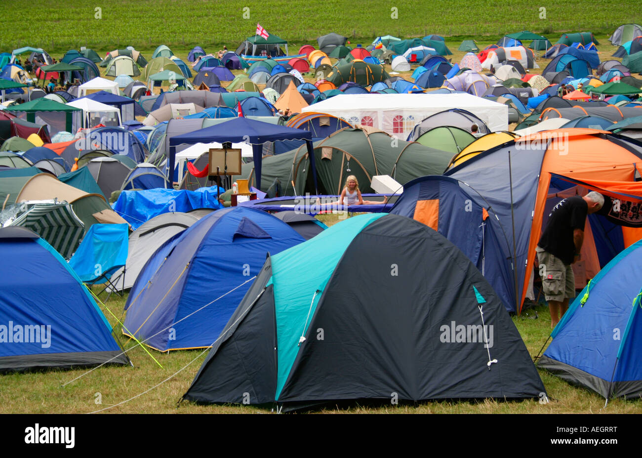 Sea of tents at The big chill music festival Eastnor England - Stock Image & England Camping Tent Summer Event Young Youth Dance Crazy Sleep ...