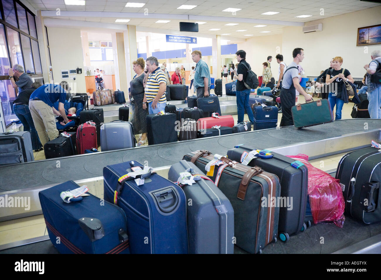 Baggage claim at the terminal of the Odesa International Airport / Ukraine - Stock Image