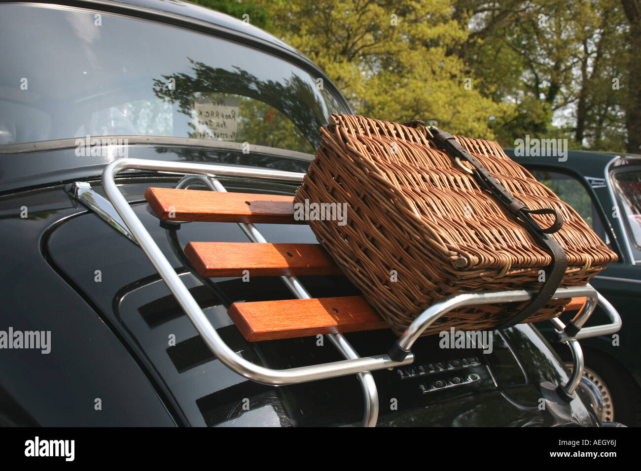 Wicker Picnic Basket On Luggage Rack On Bootlid Of Morris