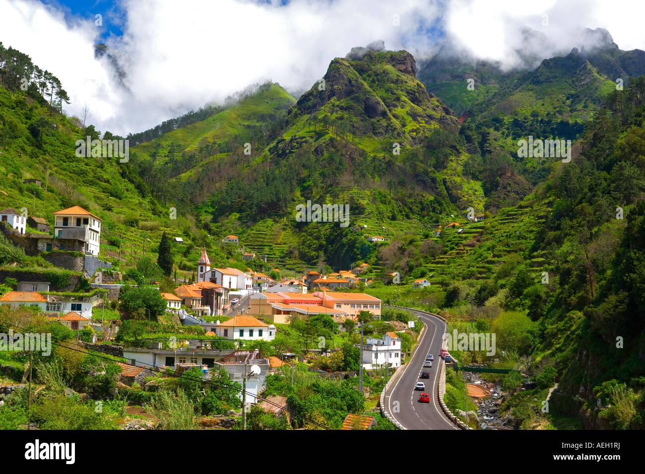 Ribiera Brava View over Serra de Agua, Madeira Portugal - Stock Image