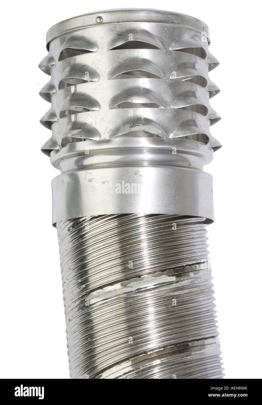 Metal Chimney flue piping with vent at top Stock Photo