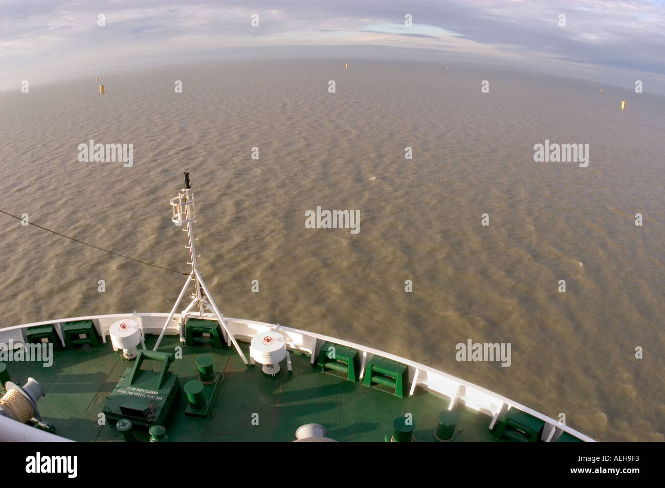 kentish flats windfarm foundations inplace from the deck of the Jakup ship Resolution  - Stock Image