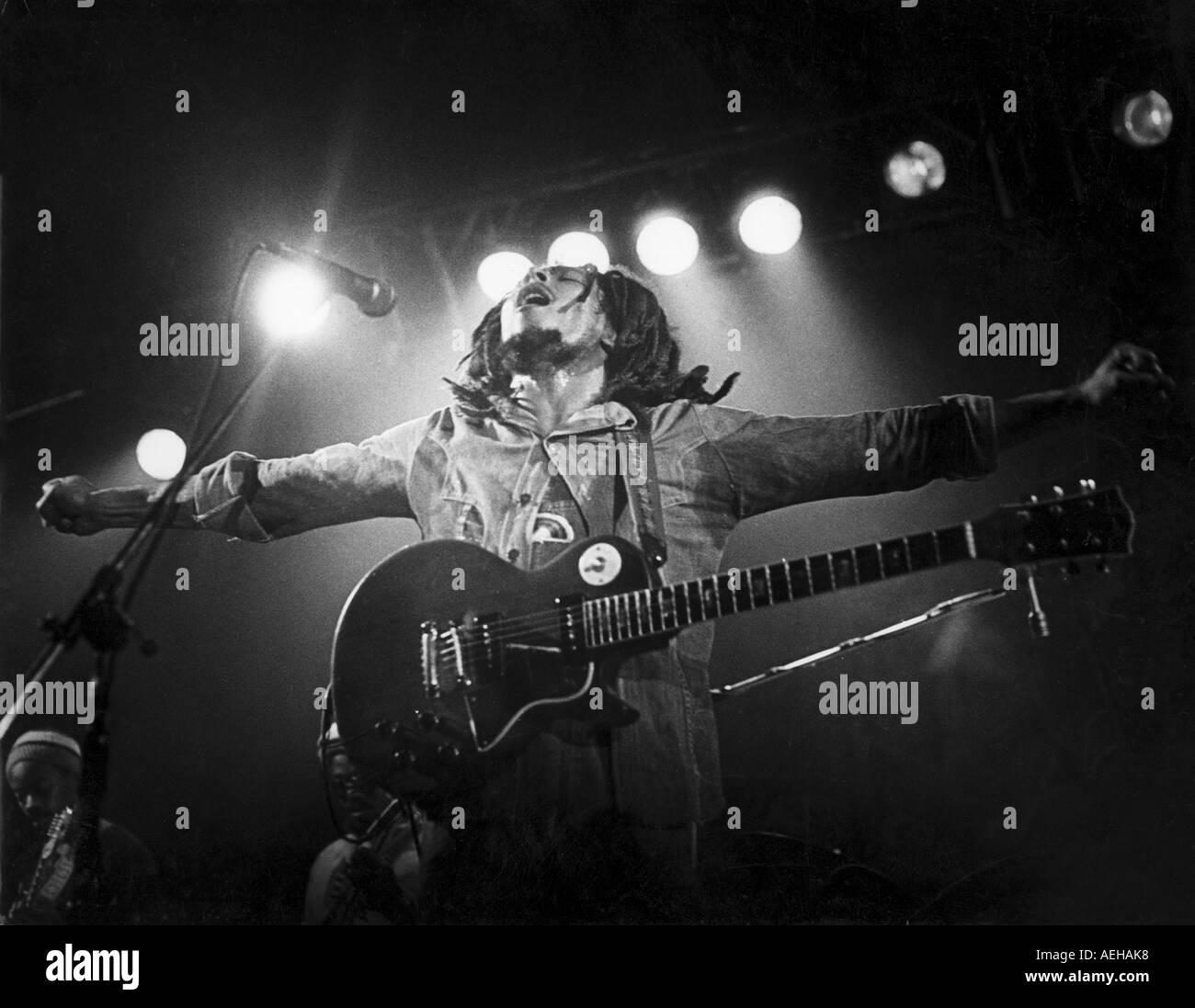 BOB MARLEY Jamaican reggae musician in 1976 - Stock Image