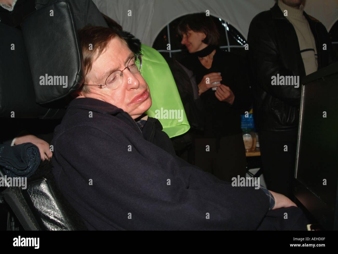 Scientist Nobel prise winner STEPHEN HAWKING CH CBE FRS the Lucasian professor of Mathematics 2004 - Stock Image