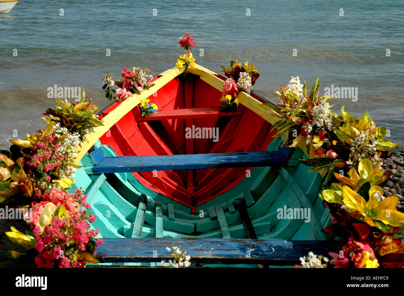 Grenada Caribbean Religious Festival Colorful Boat Decked With Stock