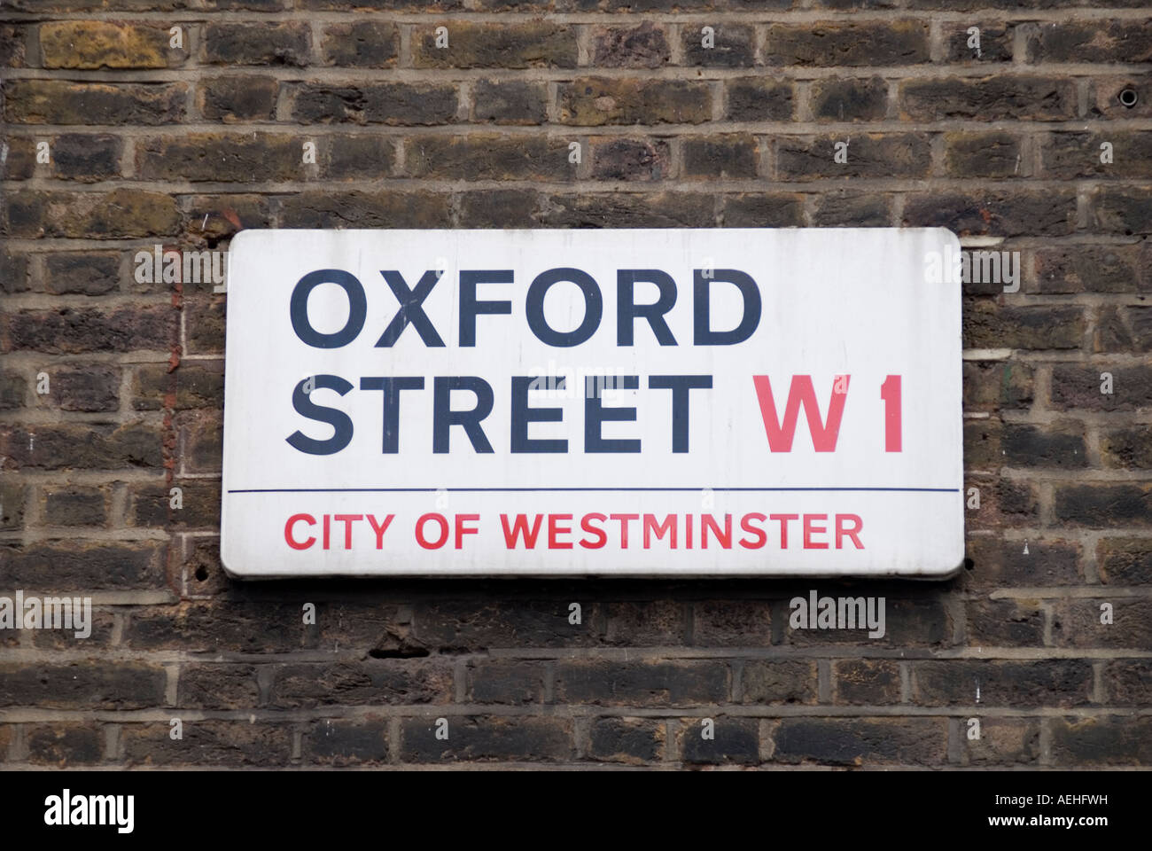 Oxford street sign Central London UK - Stock Image