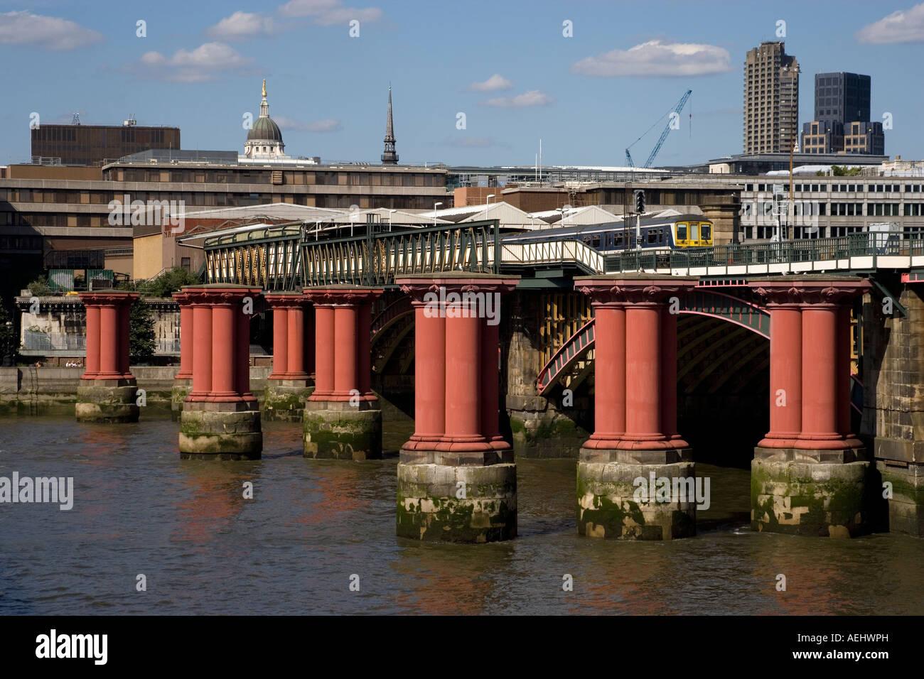 Dismantled Blackfriars Bridge London England - Stock Image