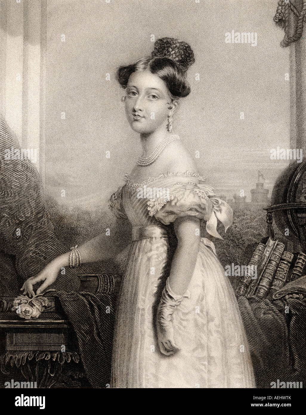 Princess Alexandrina Victoria of Saxe Coburg aged 18 1819 1901 Later Queen Victoria of England - Stock Image