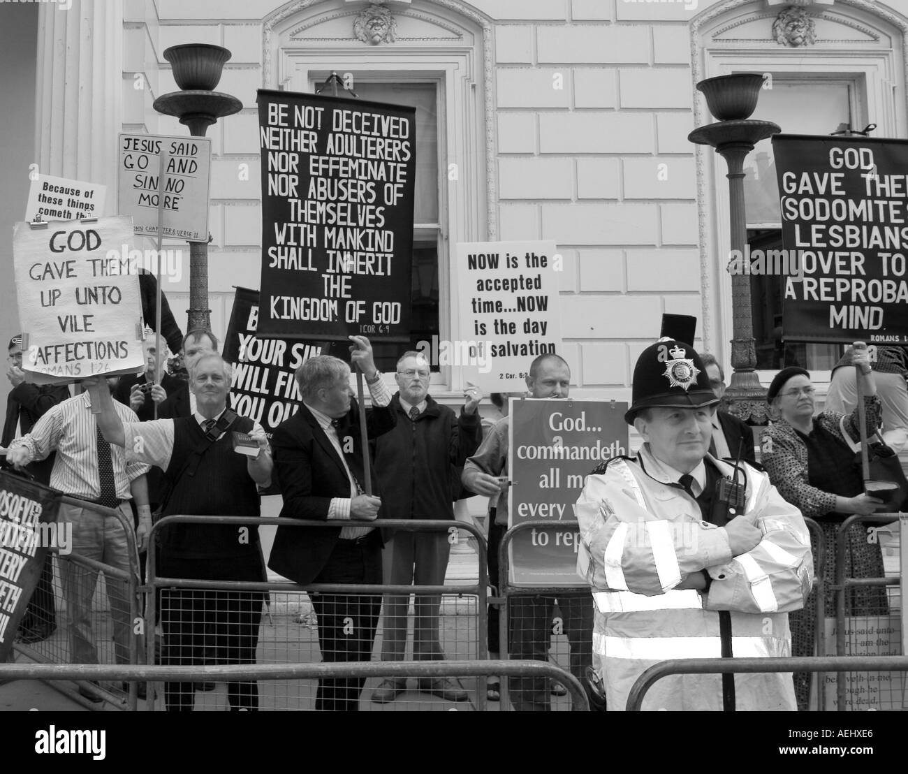 Protesters at London Gay Pride July 2005 - Stock Image