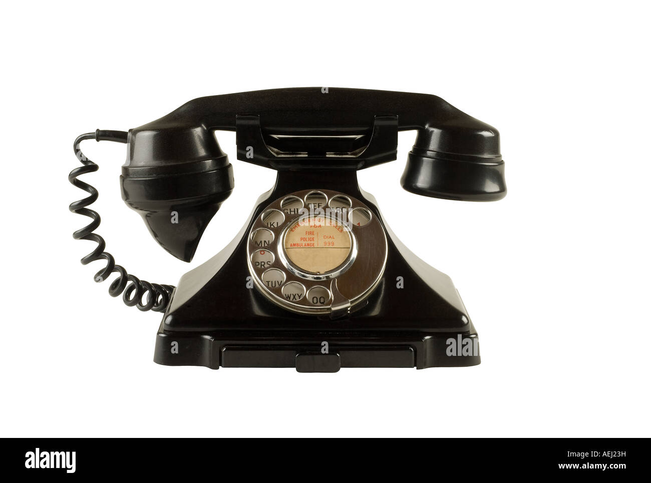 Antique black dial telephone - Stock Image