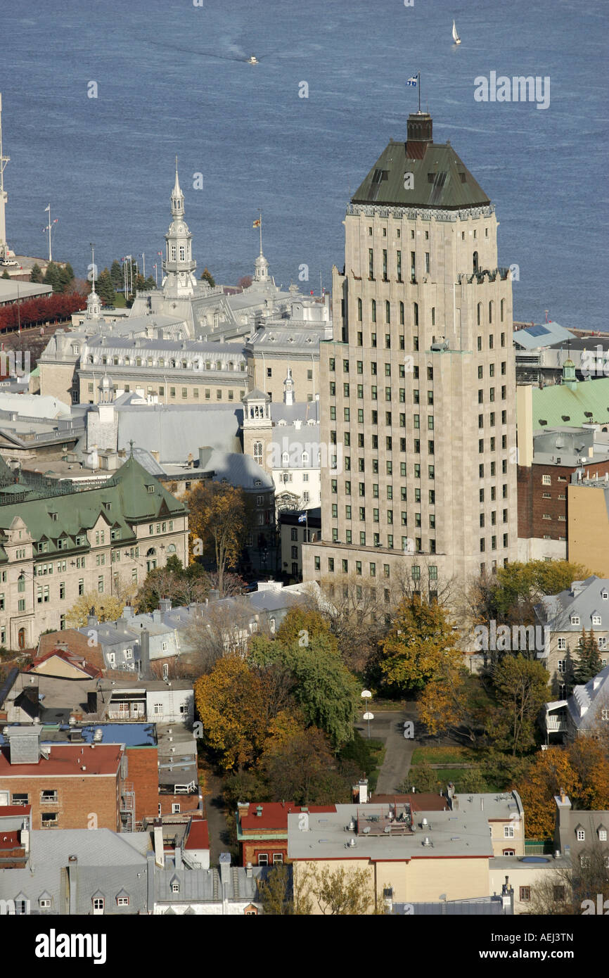 Aerial view of the Price building edifice Price in Quebec City - Stock Image