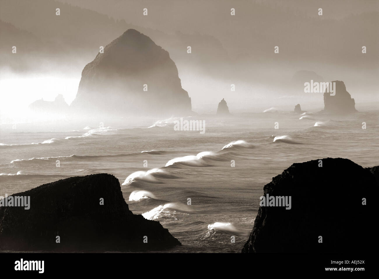 Waves with offshore wind at Cannon Beach Oregon - Stock Image