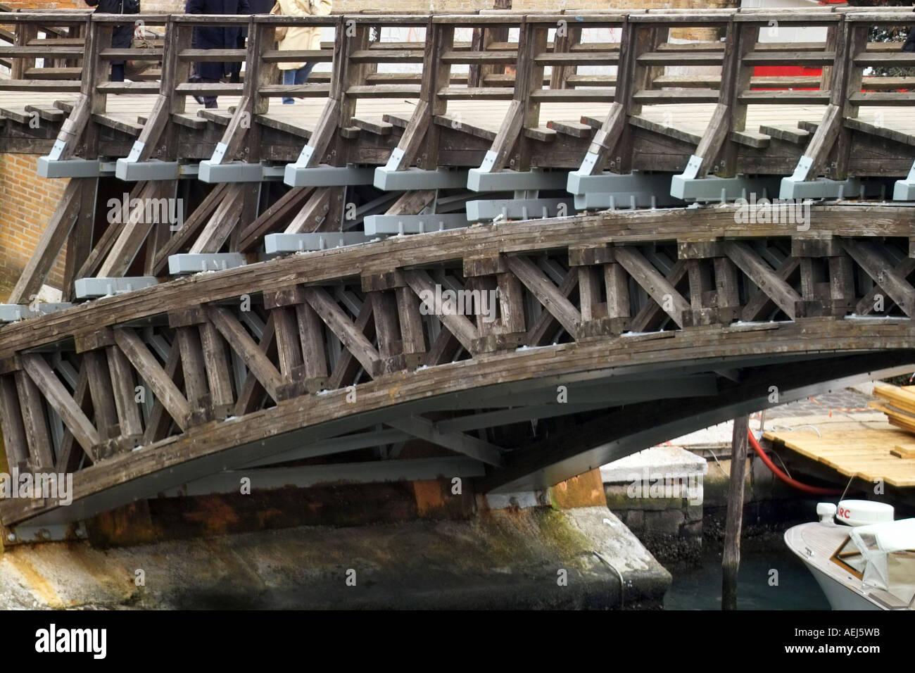 Side structure of Academia Bridge, Venice Italy - Stock Image