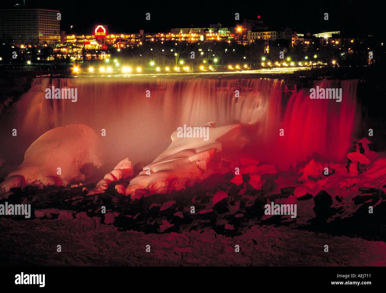 Niagara Falls At Night In Winter Time Stock Photo 2533136
