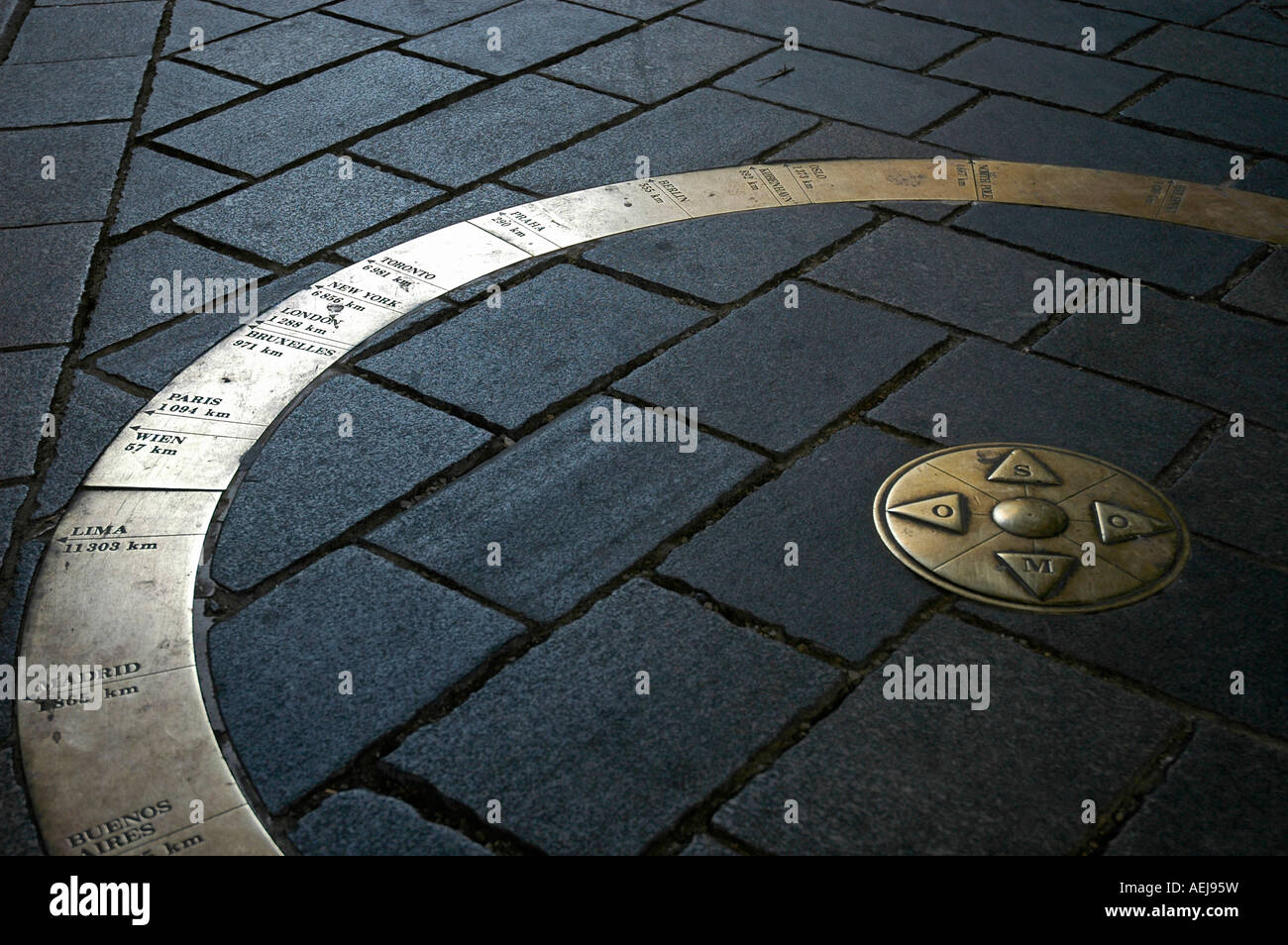 World circle, marking of distances at the Michaelsgate, Bratislava, Slovakia - Stock Image