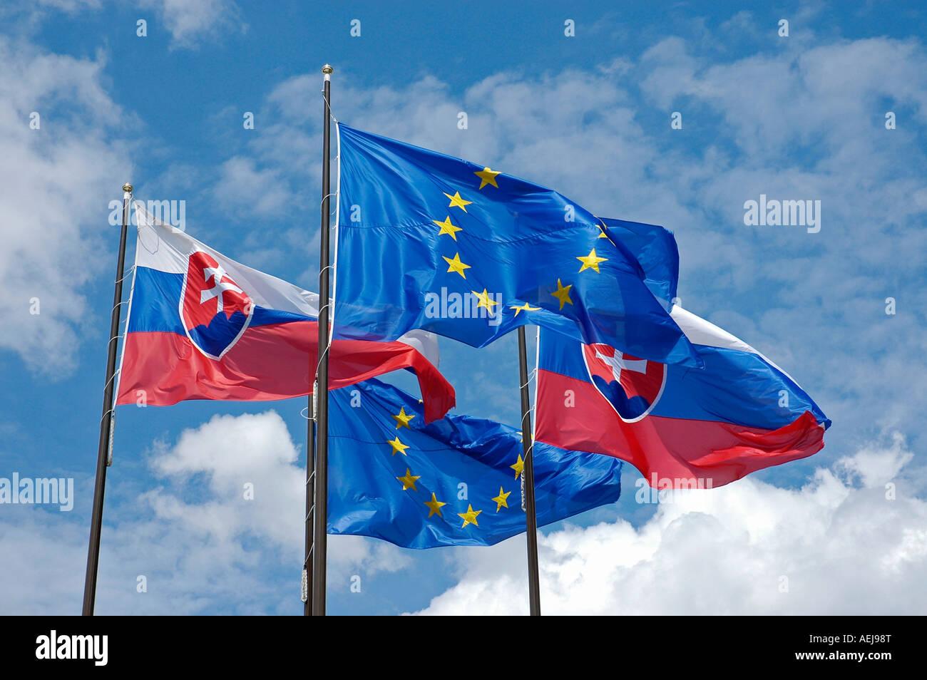 736416d036 Slovakian and European Union flags