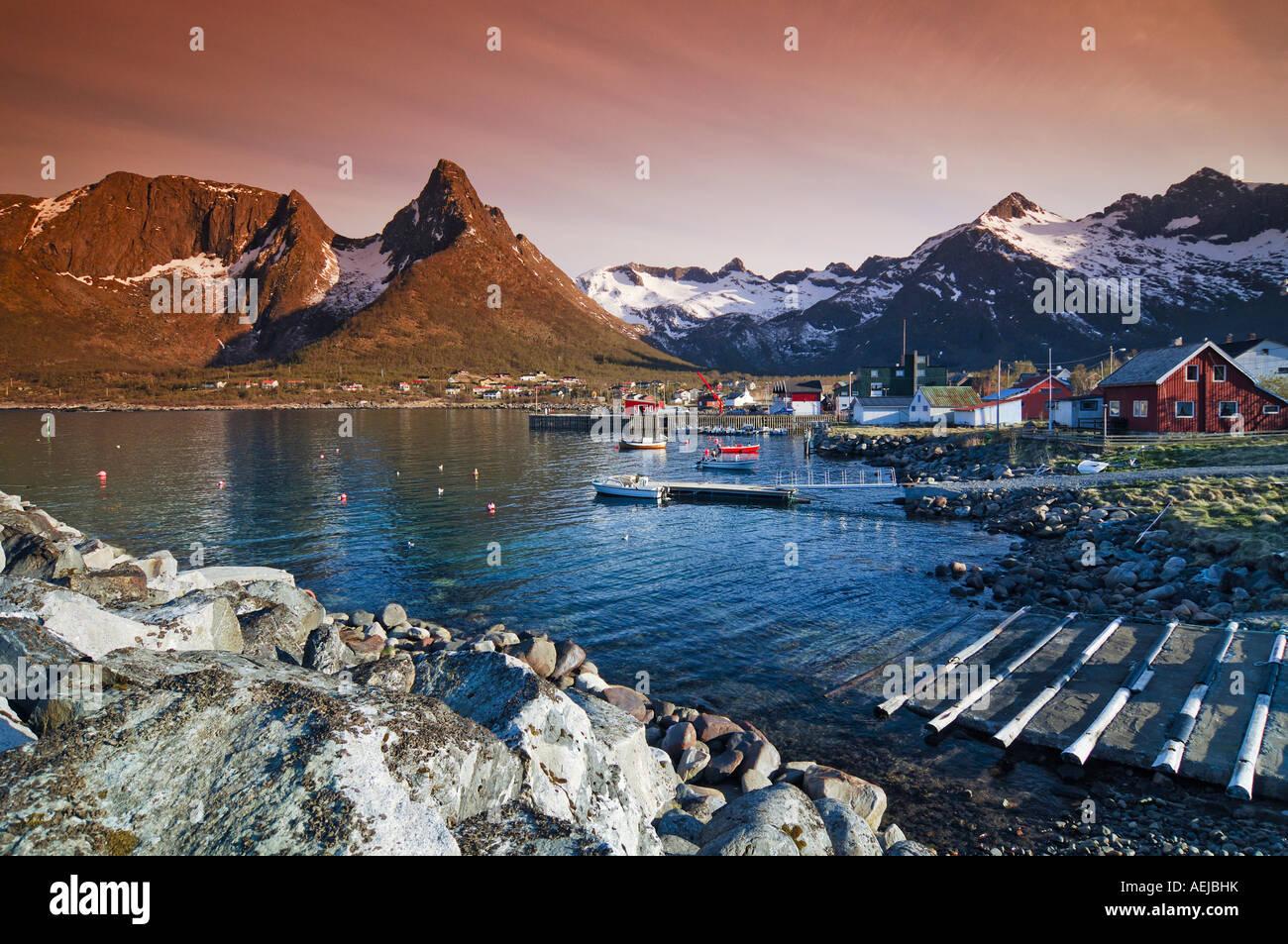 Fishing village, Austvagoy, Lofoten, Norway, Scandinavia, Europe Stock Photo