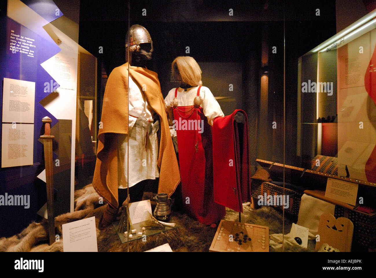 Garments, viking museum, Bostad Borg, Lofoten, Nordland, Norway - Stock Image