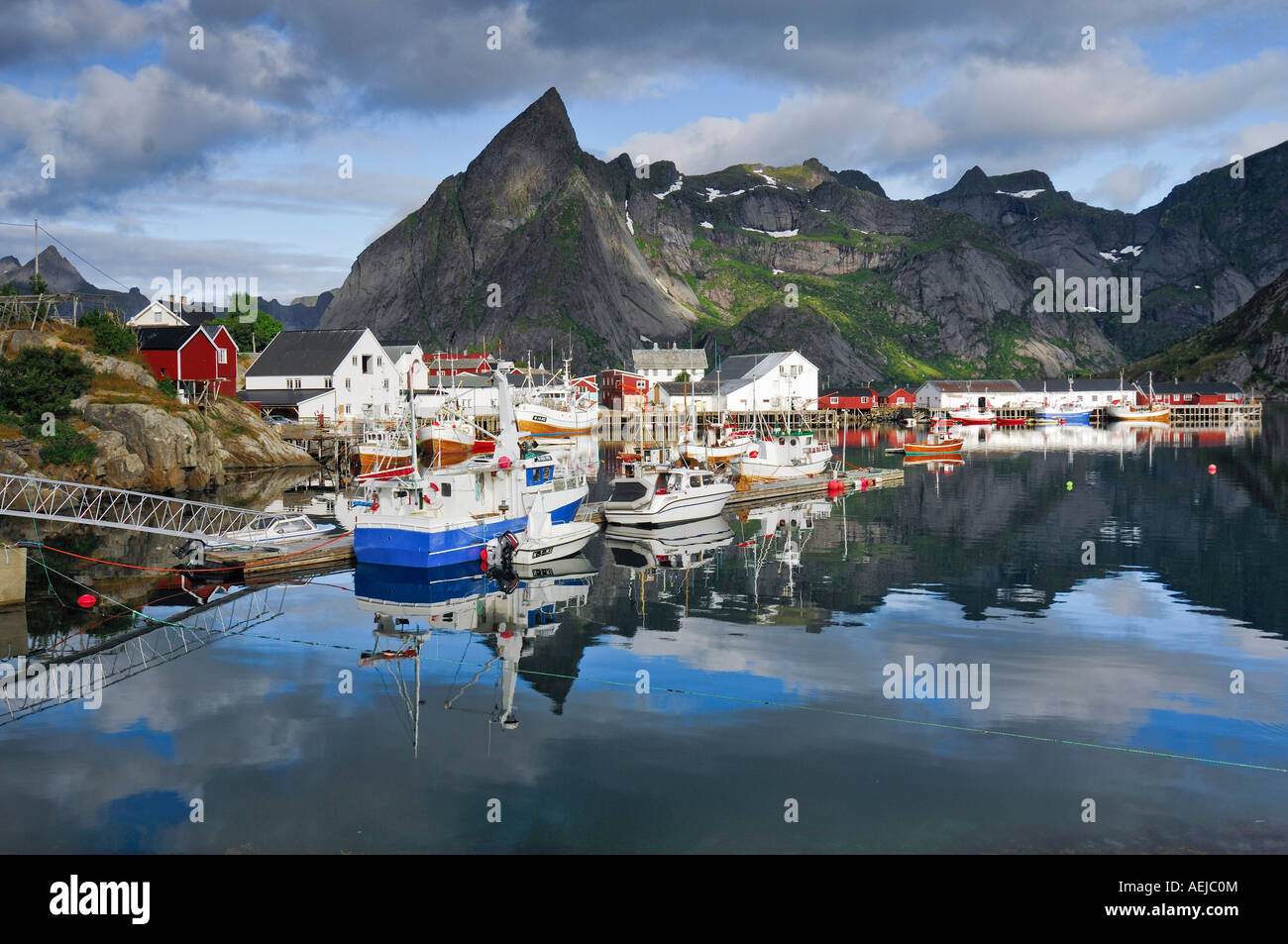 Fishing harbour, Reine, Moskenes, Lofoten, Norway, Scandinavia Stock Photo