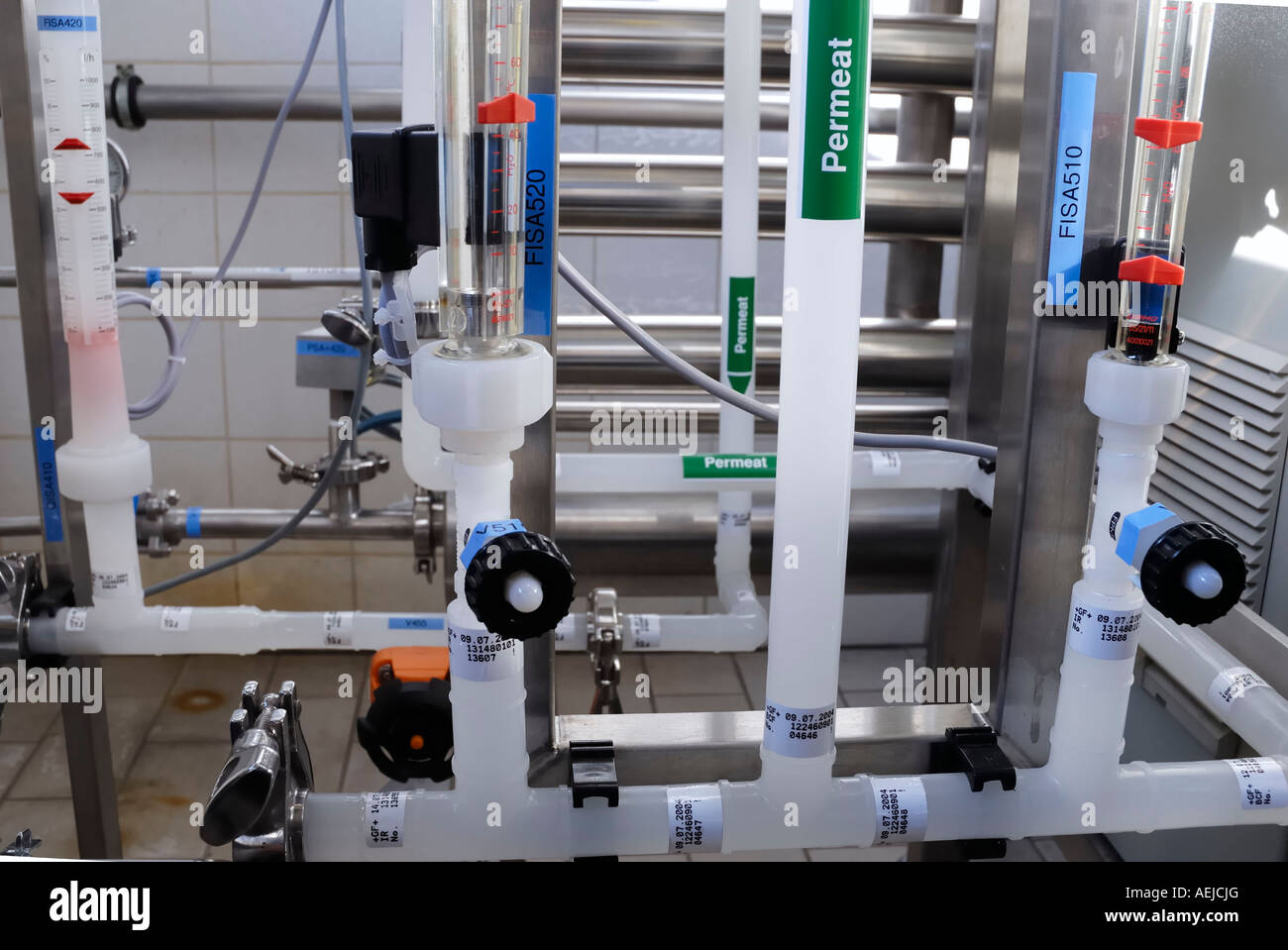 Piping of a purified water plant - Stock Image