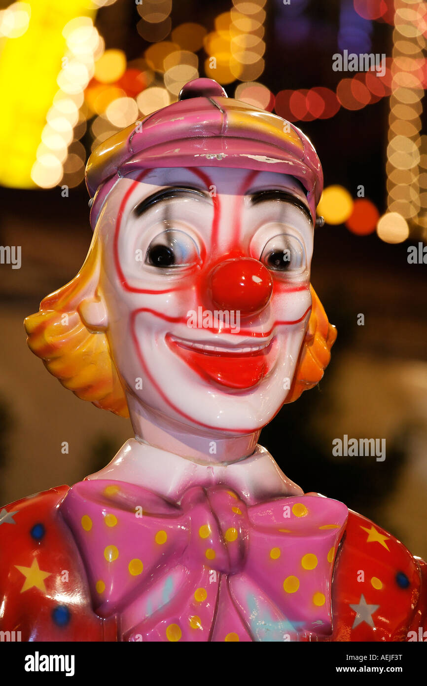 Figure of a clown, merry-go-round, Rhine funfair, Duesseldorf, NRW, Germany Stock Photo