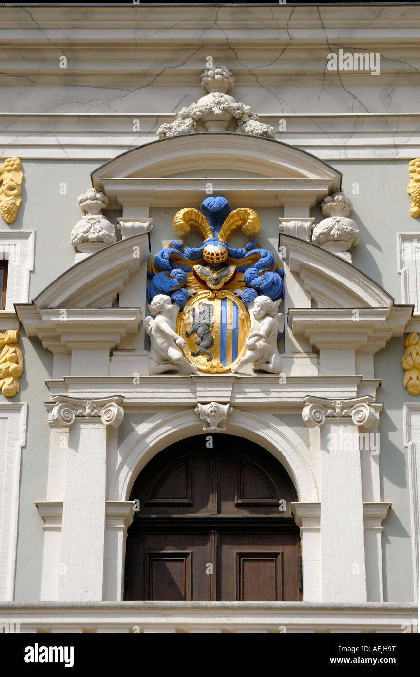 Coat of arms at the old trade market building, Leipzig, Saxony, Germany Stock Photo