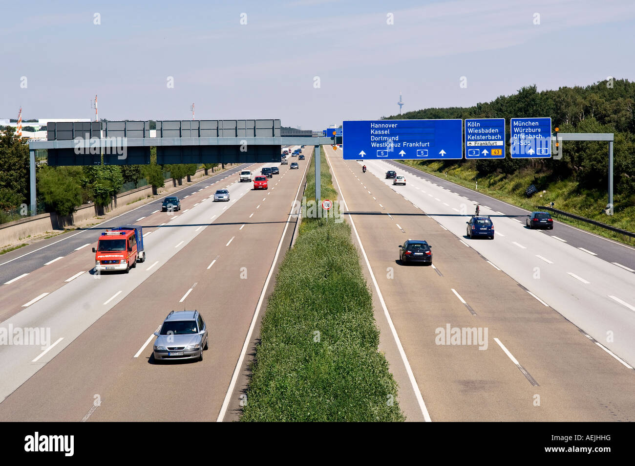 Motorway A5 in direction Frankfurt Airport, Hesse, Germany - Stock Image