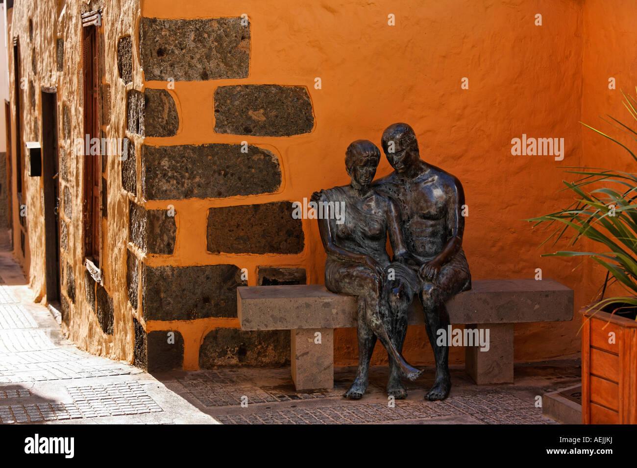 Bronze statue Aspectos del Amor, Agueimes, Aguimes, Gran Canaria, Spain - Stock Image