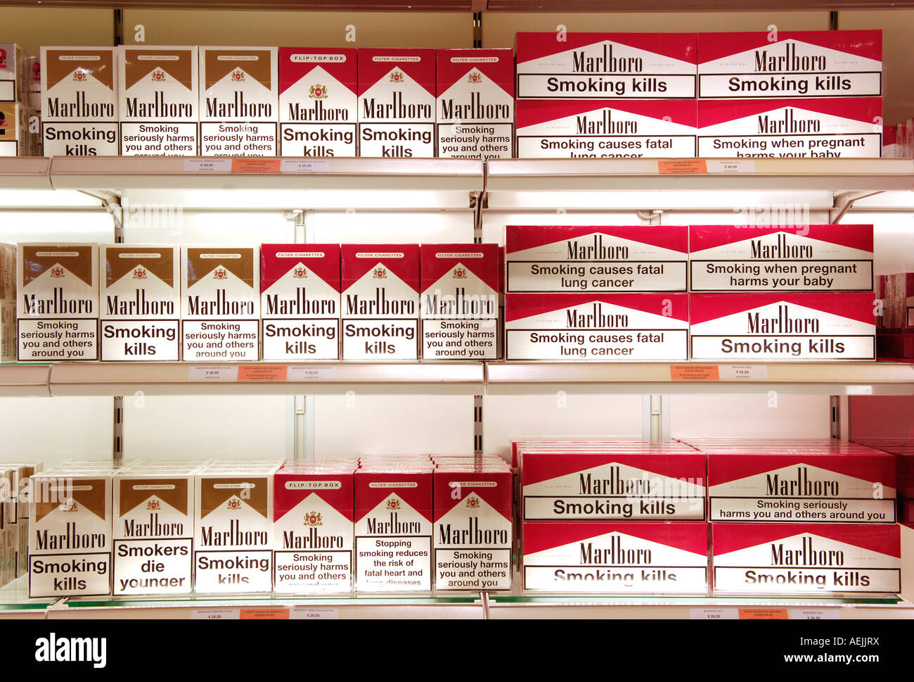 Cartons of Cigarettes in Duty-Free Shop Airport Stuttgart Stock