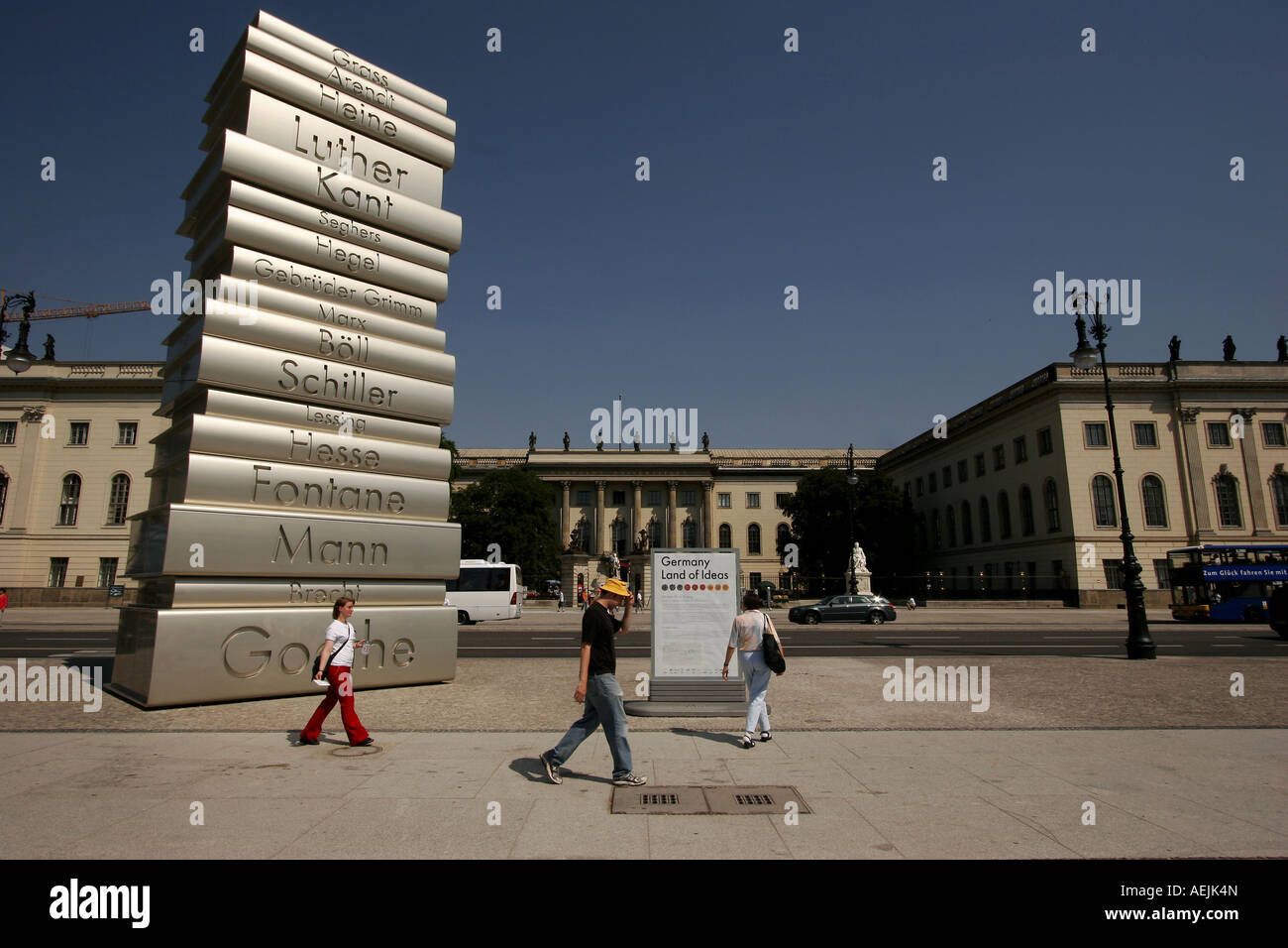Books by german authors in the capital Berlin Germany - Stock Image