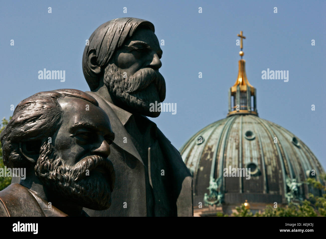 Communists Marx and Engels in the german capital Berlin Germany - Stock Image