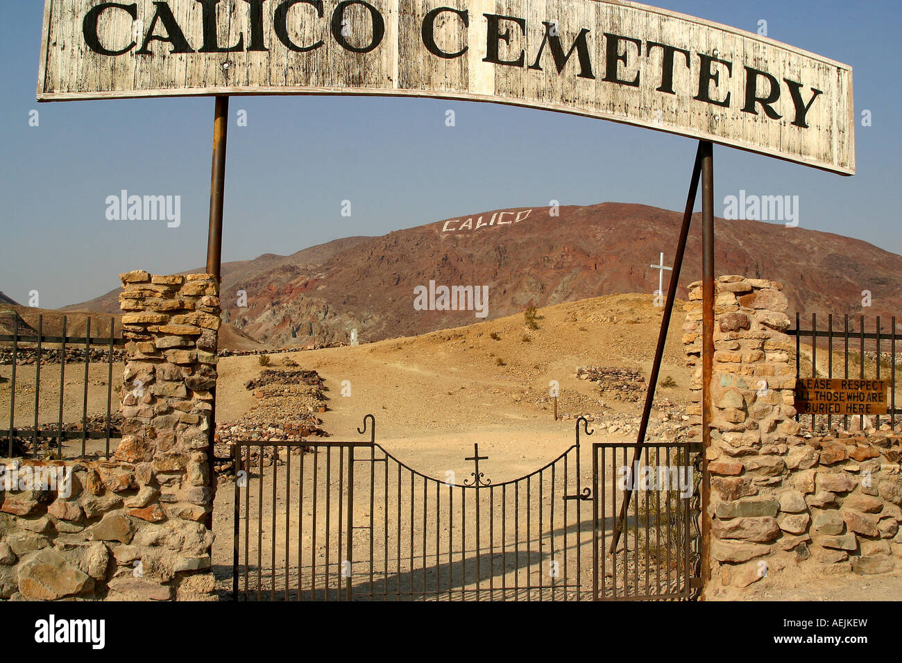 Cemetery of 'Ghosttown' Calico Calico California United States of America USA - Stock Image
