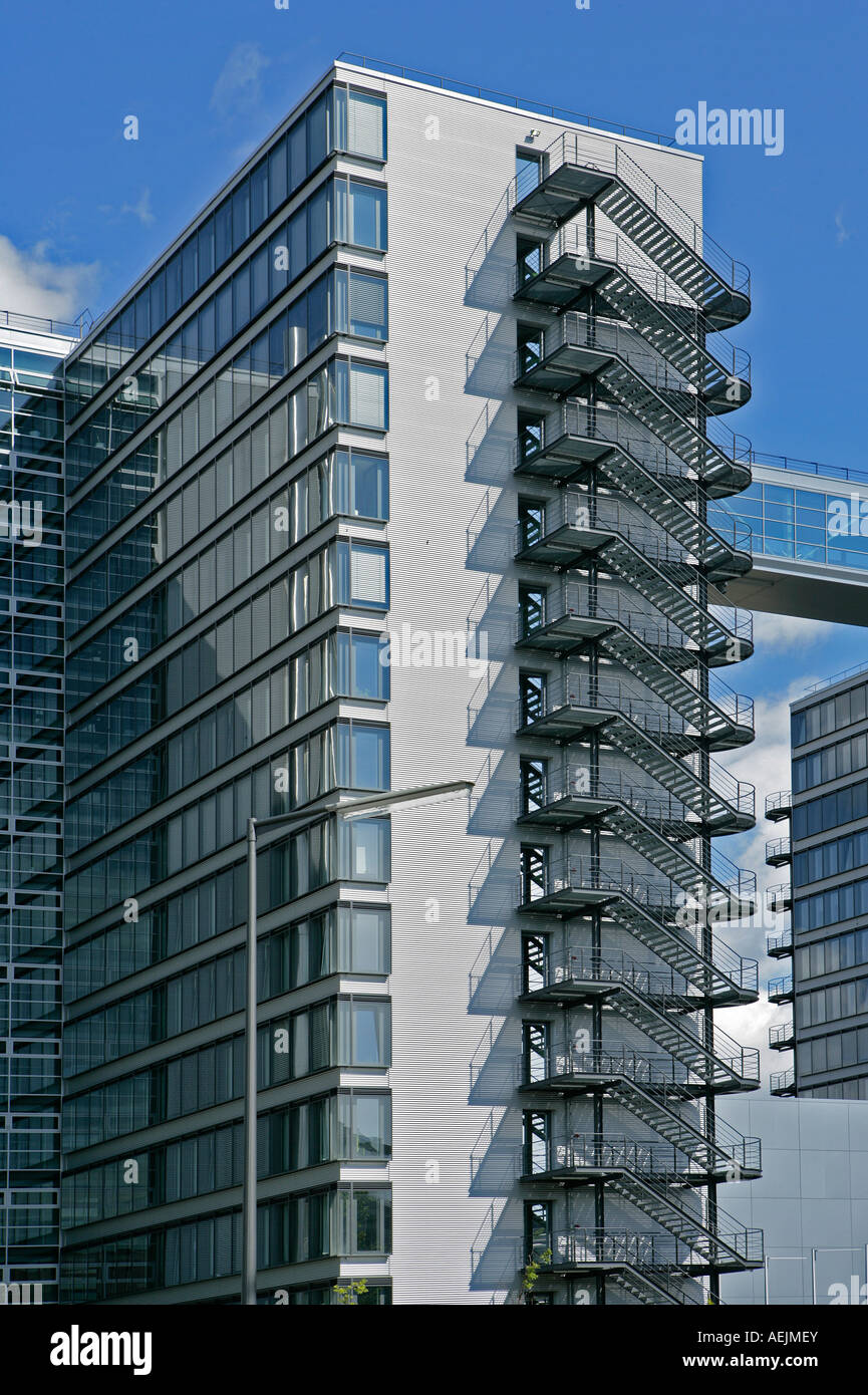Fire escape at the office block of the Deutsche Telekom AG, Munich, Bavaria, Germany - Stock Image
